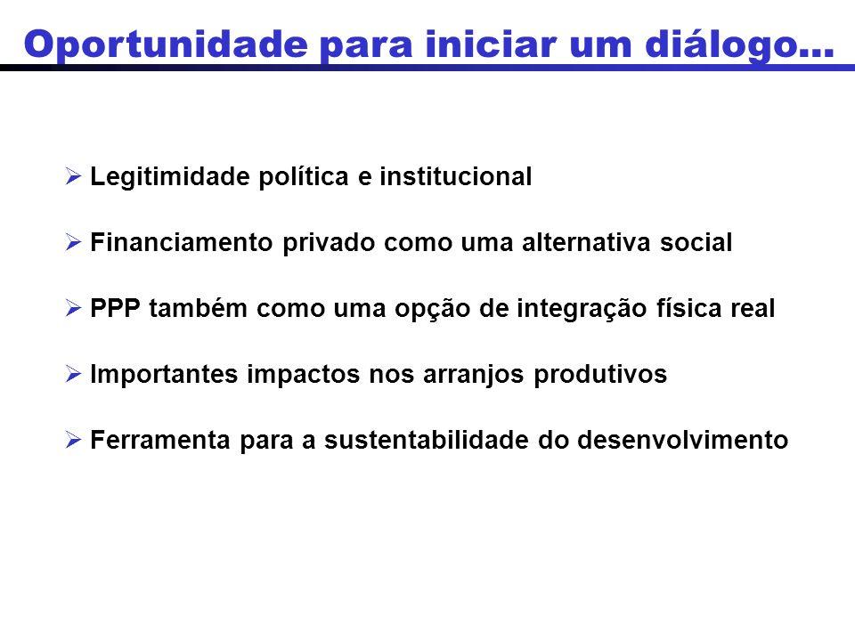 Legitimidade política e institucional Financiamento privado como uma alternativa social PPP também como uma opção de integração física real Importantes impactos nos arranjos produtivos Ferramenta para a sustentabilidade do desenvolvimento Oportunidade para iniciar um diálogo...