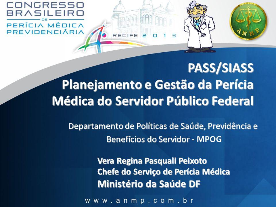 PASS/SIASS Planejamento e Gestão da Perícia Médica do Servidor Público Federal PASS/SIASS Planejamento e Gestão da Perícia Médica do Servidor Público