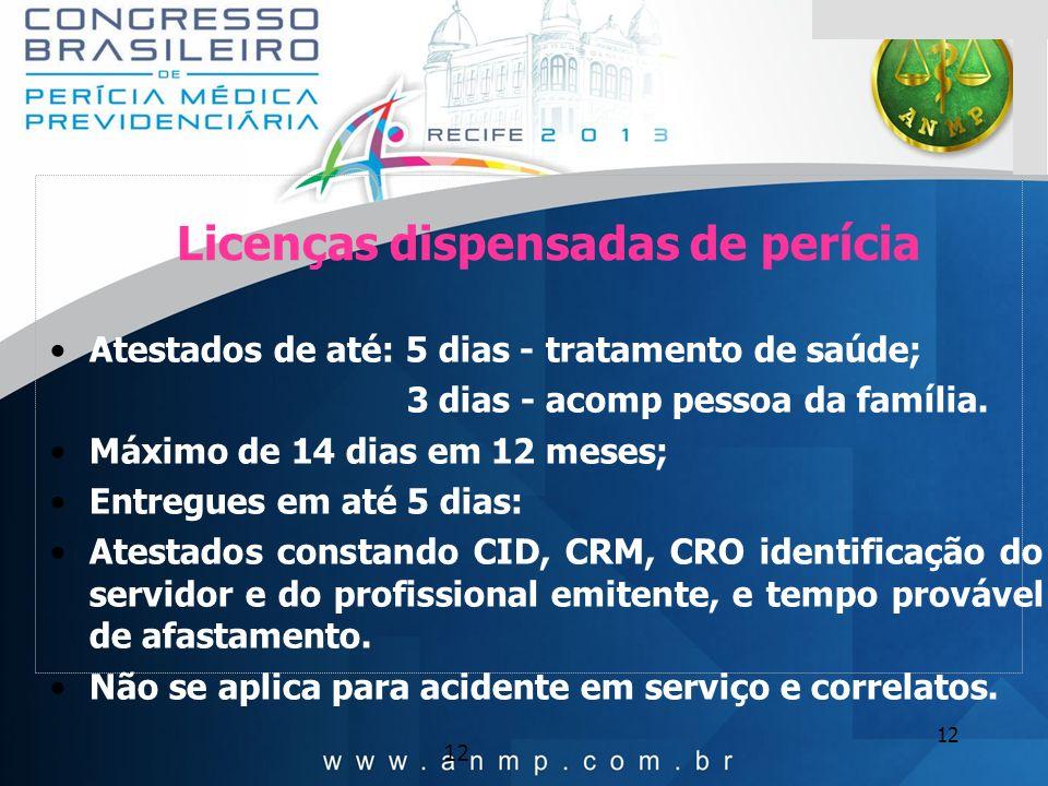 12 Licenças dispensadas de perícia Atestados de até: 5 dias - tratamento de saúde; 3 dias - acomp pessoa da família. Máximo de 14 dias em 12 meses; En