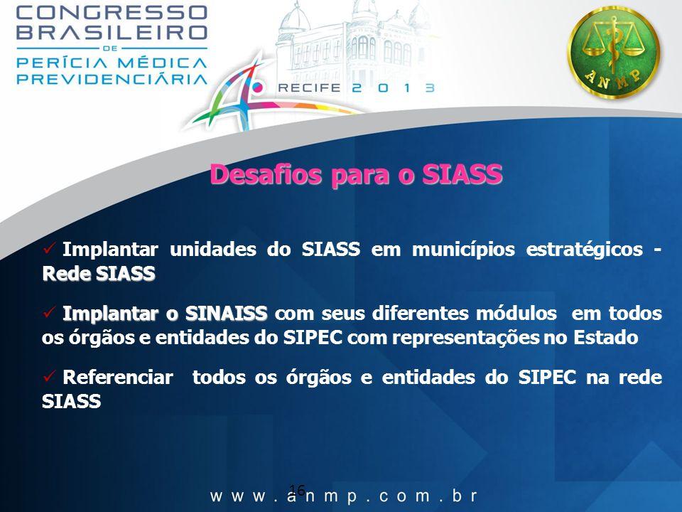 16 Rede SIASS Implantar unidades do SIASS em municípios estratégicos - Rede SIASS Implantar o SINAISS Implantar o SINAISS com seus diferentes módulos