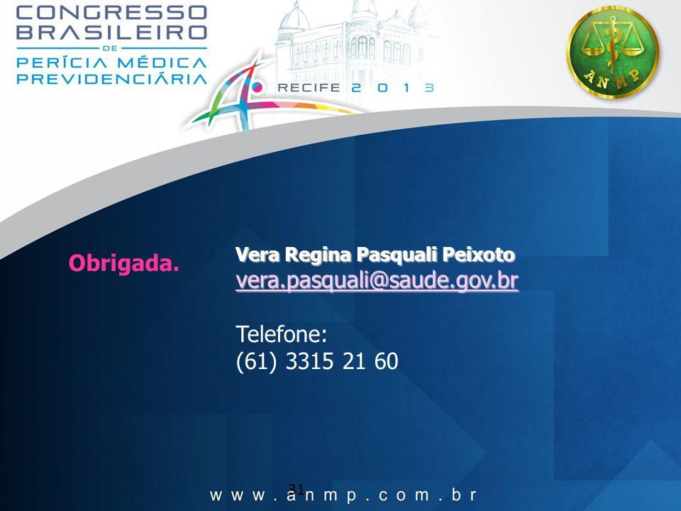 31 Obrigada. Vera Regina Pasquali Peixoto vera.pasquali@saude.gov.br Telefone: (61) 3315 21 60