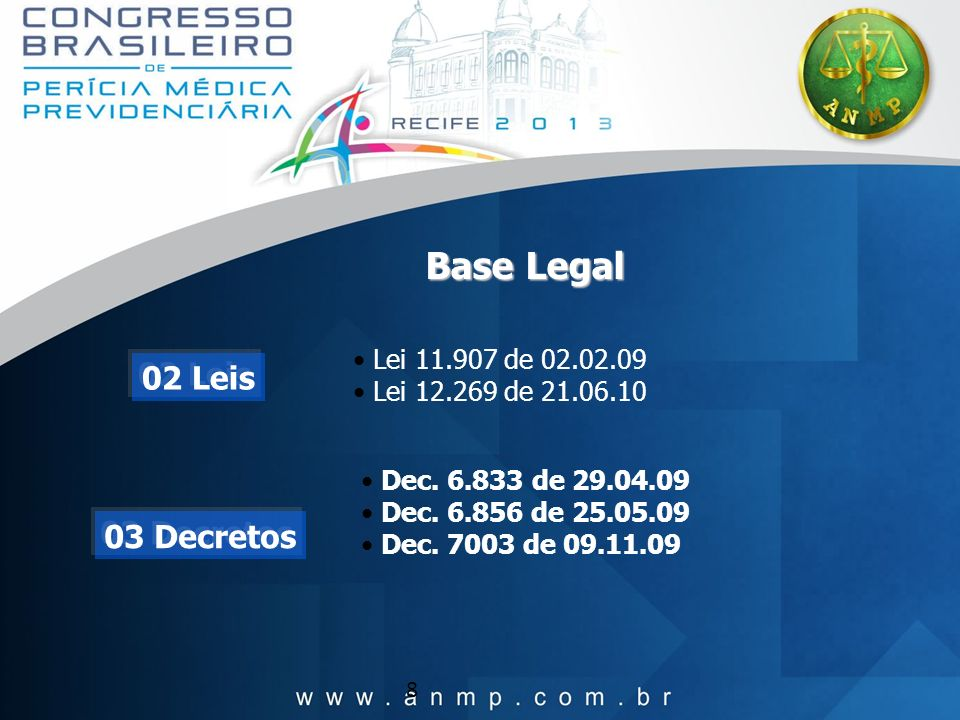 8 Base Legal Lei 11.907 de 02.02.09 Lei 12.269 de 21.06.10 Dec. 6.833 de 29.04.09 Dec. 6.856 de 25.05.09 Dec. 7003 de 09.11.09 02 Leis 03 Decretos