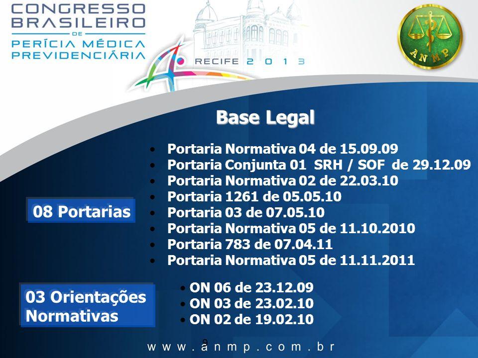 9 Base Legal Portaria Normativa 04 de 15.09.09 Portaria Conjunta 01 SRH / SOF de 29.12.09 Portaria Normativa 02 de 22.03.10 Portaria 1261 de 05.05.10