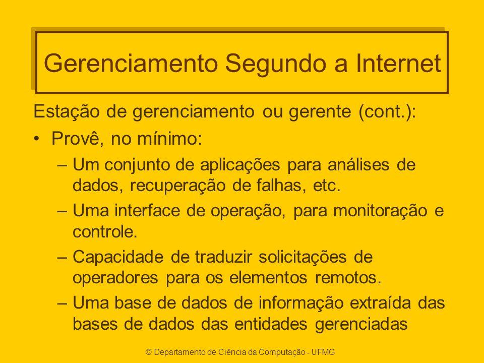 © Departamento de Ciência da Computação - UFMG Gerenciamento Segundo a Internet Estação de gerenciamento ou gerente (cont.): Provê, no mínimo: –Um conjunto de aplicações para análises de dados, recuperação de falhas, etc.