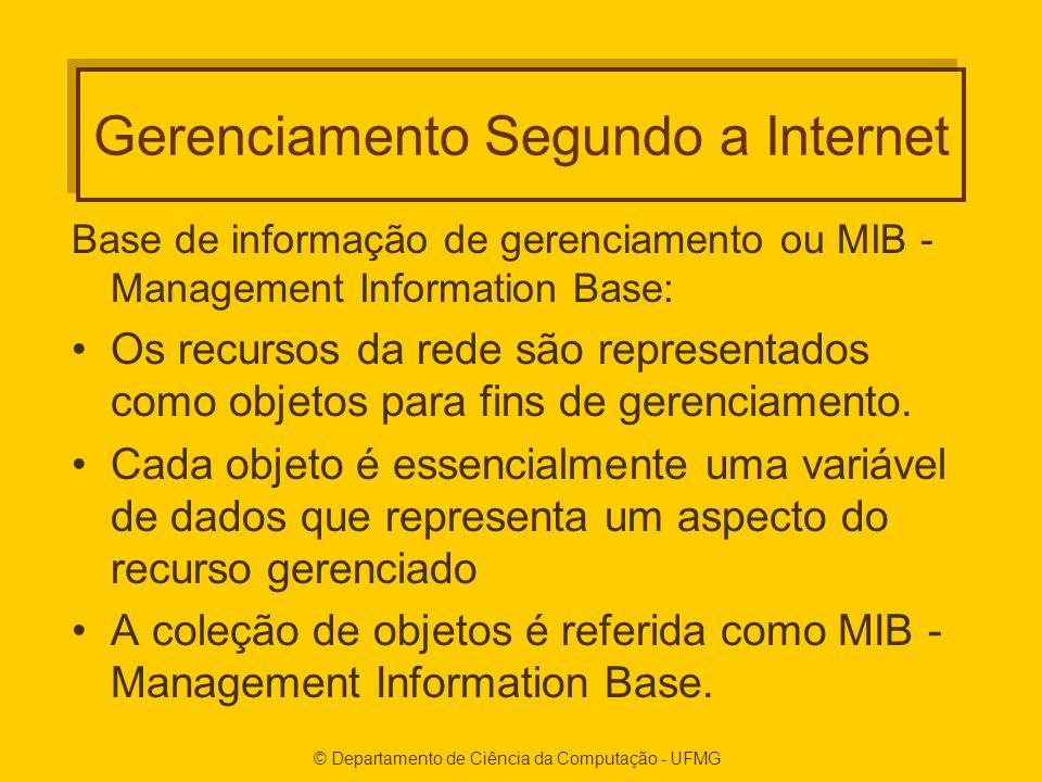 © Departamento de Ciência da Computação - UFMG Gerenciamento Segundo a Internet Base de informação de gerenciamento ou MIB - Management Information Base: Os recursos da rede são representados como objetos para fins de gerenciamento.