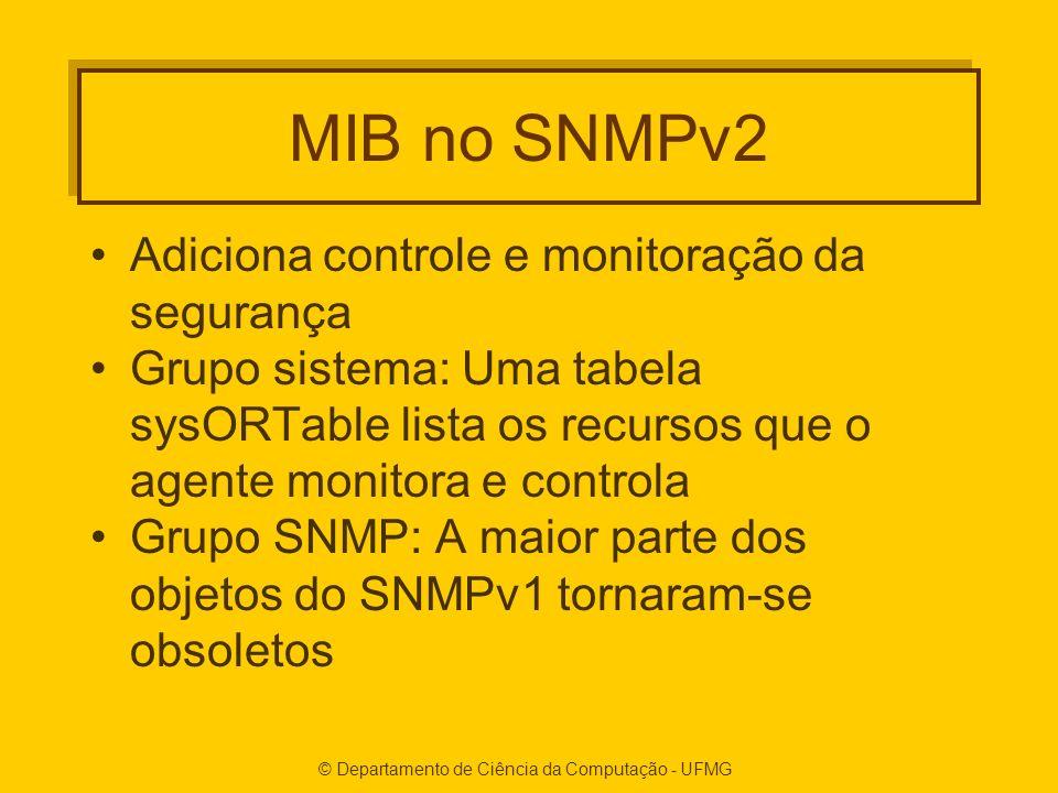 MIB no SNMPv2 Adiciona controle e monitoração da segurança Grupo sistema: Uma tabela sysORTable lista os recursos que o agente monitora e controla Grupo SNMP: A maior parte dos objetos do SNMPv1 tornaram-se obsoletos