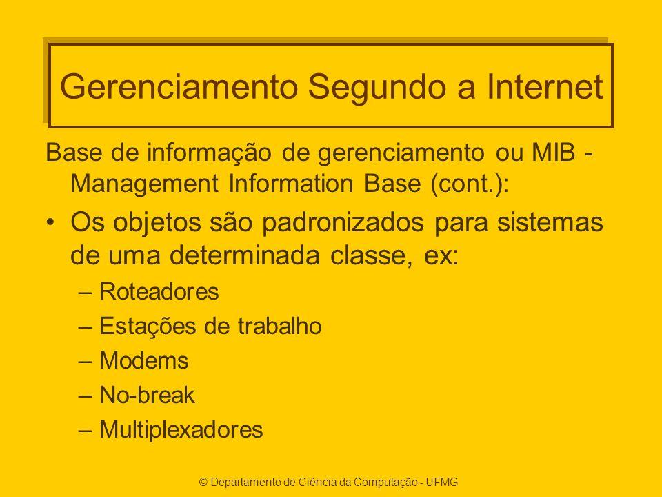 © Departamento de Ciência da Computação - UFMG Gerenciamento Segundo a Internet Base de informação de gerenciamento ou MIB - Management Information Ba