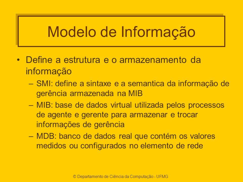 Modelo de Informação Define a estrutura e o armazenamento da informação –SMI: define a sintaxe e a semantica da informação de gerência armazenada na MIB –MIB: base de dados virtual utilizada pelos processos de agente e gerente para armazenar e trocar informações de gerência –MDB: banco de dados real que contém os valores medidos ou configurados no elemento de rede