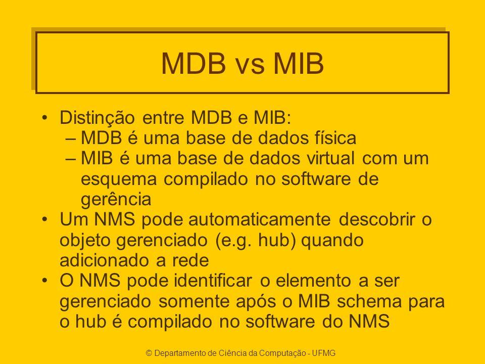 © Departamento de Ciência da Computação - UFMG MDB vs MIB Distinção entre MDB e MIB: –MDB é uma base de dados física –MIB é uma base de dados virtual com um esquema compilado no software de gerência Um NMS pode automaticamente descobrir o objeto gerenciado (e.g.