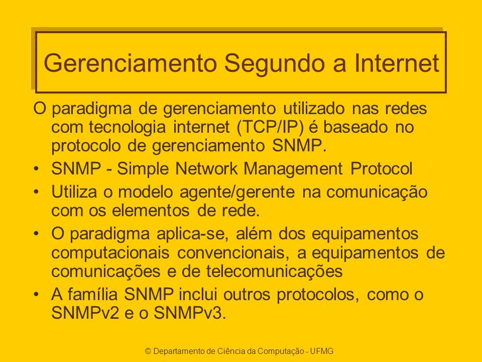 © Departamento de Ciência da Computação - UFMG Gerenciamento Segundo a Internet O paradigma de gerenciamento utilizado nas redes com tecnologia internet (TCP/IP) é baseado no protocolo de gerenciamento SNMP.