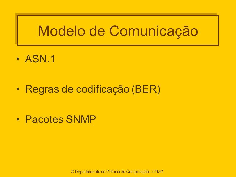 © Departamento de Ciência da Computação - UFMG Modelo de Comunicação ASN.1 Regras de codificação (BER) Pacotes SNMP