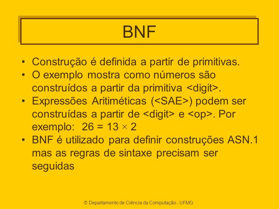 © Departamento de Ciência da Computação - UFMG BNF Construção é definida a partir de primitivas. O exemplo mostra como números são construídos a parti