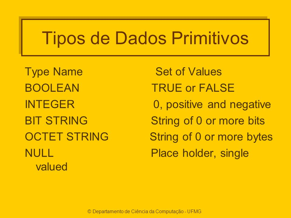 © Departamento de Ciência da Computação - UFMG Tipos de Dados Primitivos Type Name Set of Values BOOLEAN TRUE or FALSE INTEGER 0, positive and negativ