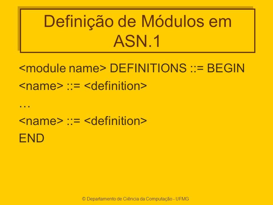 Definição de Módulos em ASN.1 DEFINITIONS ::= BEGIN ::= … ::= END
