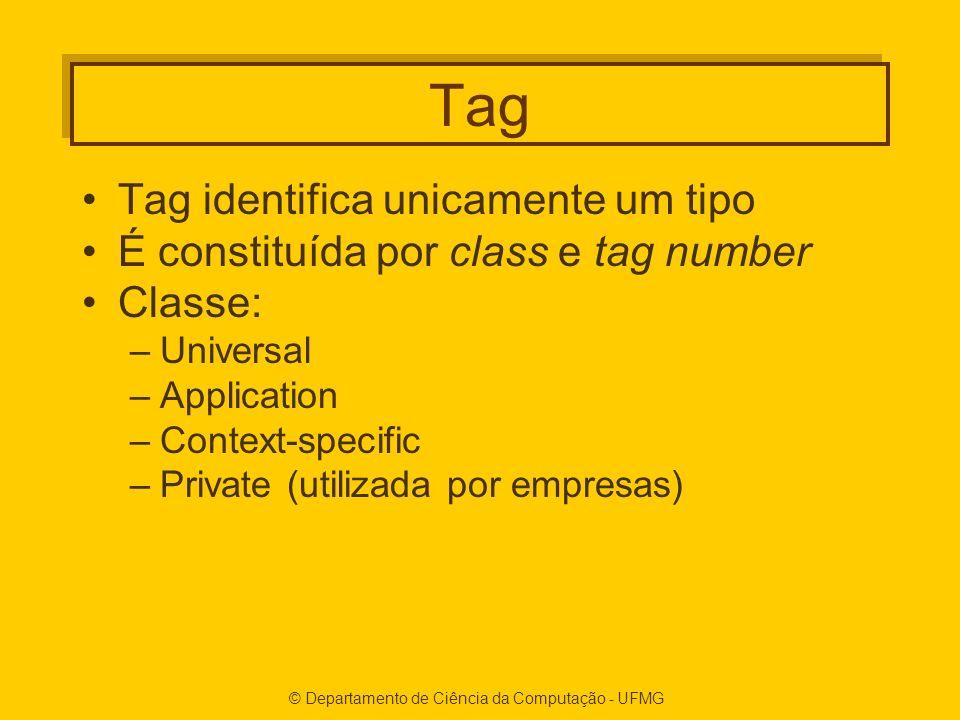 © Departamento de Ciência da Computação - UFMG Tag Tag identifica unicamente um tipo É constituída por class e tag number Classe: –Universal –Application –Context-specific –Private (utilizada por empresas)