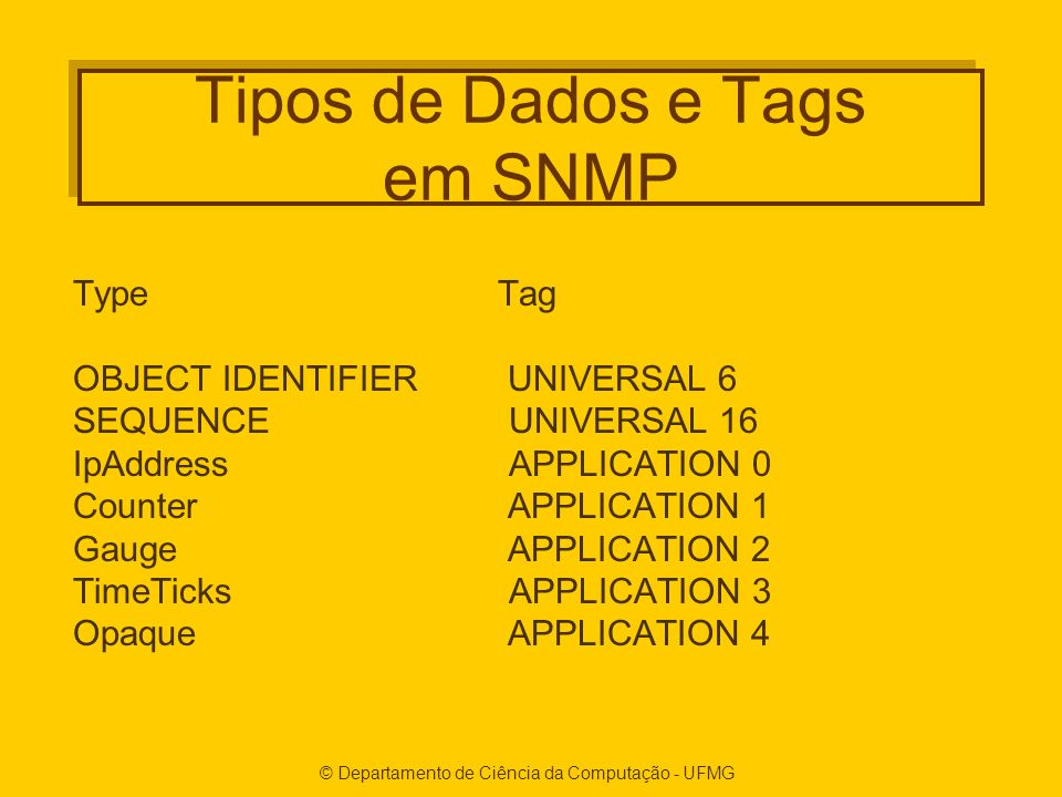 © Departamento de Ciência da Computação - UFMG Tipos de Dados e Tags em SNMP TypeTag OBJECT IDENTIFIER UNIVERSAL 6 SEQUENCE UNIVERSAL 16 IpAddress APPLICATION 0 Counter APPLICATION 1 Gauge APPLICATION 2 TimeTicks APPLICATION 3 Opaque APPLICATION 4