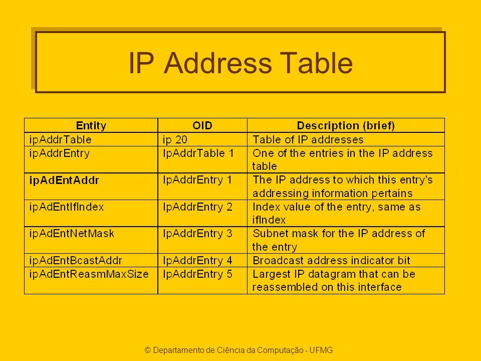 © Departamento de Ciência da Computação - UFMG IP Address Table