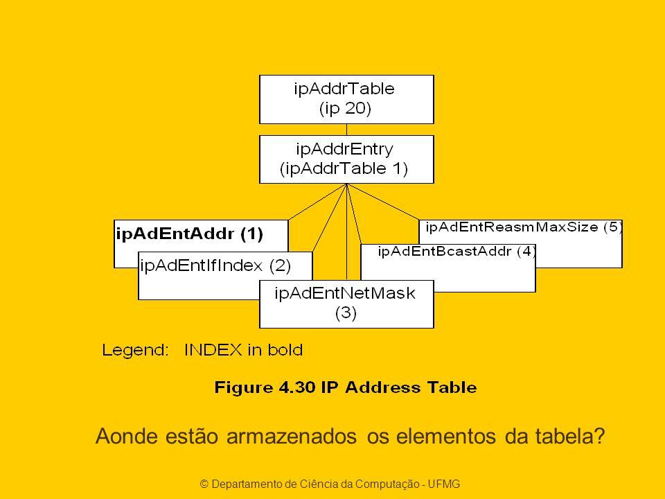 © Departamento de Ciência da Computação - UFMG Aonde estão armazenados os elementos da tabela?