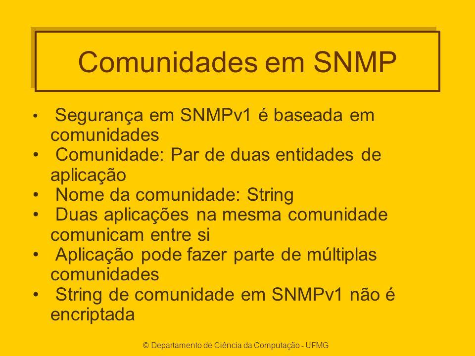 © Departamento de Ciência da Computação - UFMG Comunidades em SNMP Segurança em SNMPv1 é baseada em comunidades Comunidade: Par de duas entidades de aplicação Nome da comunidade: String Duas aplicações na mesma comunidade comunicam entre si Aplicação pode fazer parte de múltiplas comunidades String de comunidade em SNMPv1 não é encriptada
