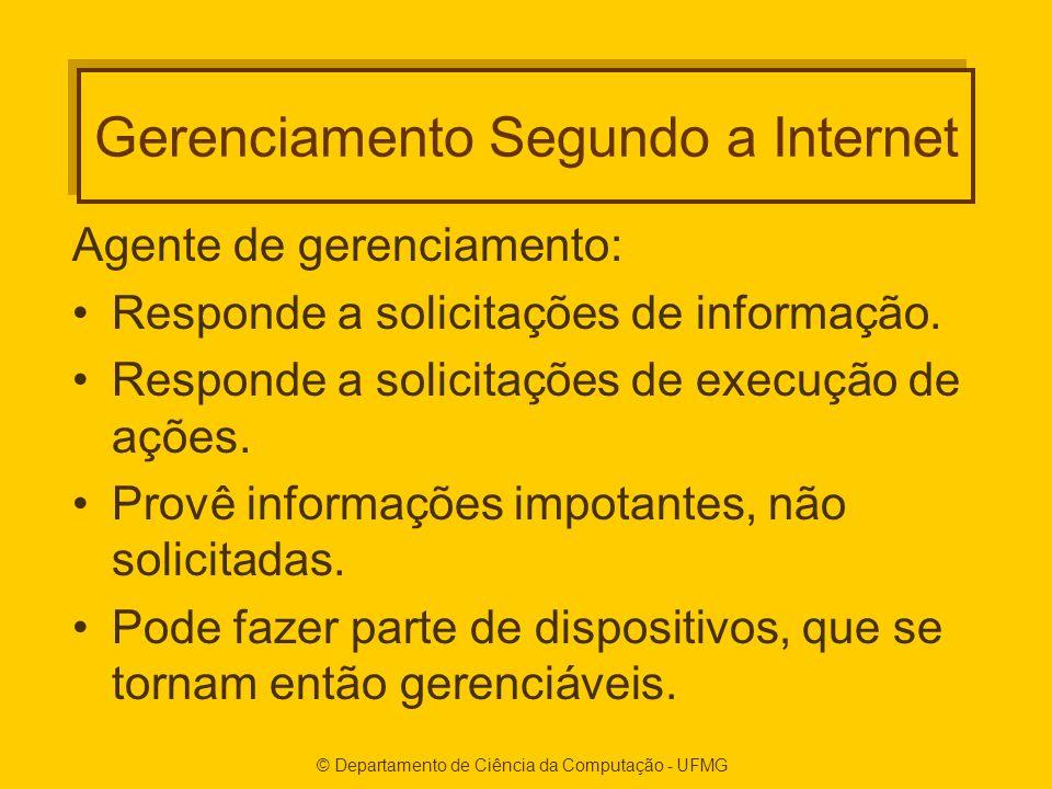 © Departamento de Ciência da Computação - UFMG Gerenciamento Segundo a Internet Agente de gerenciamento: Responde a solicitações de informação.