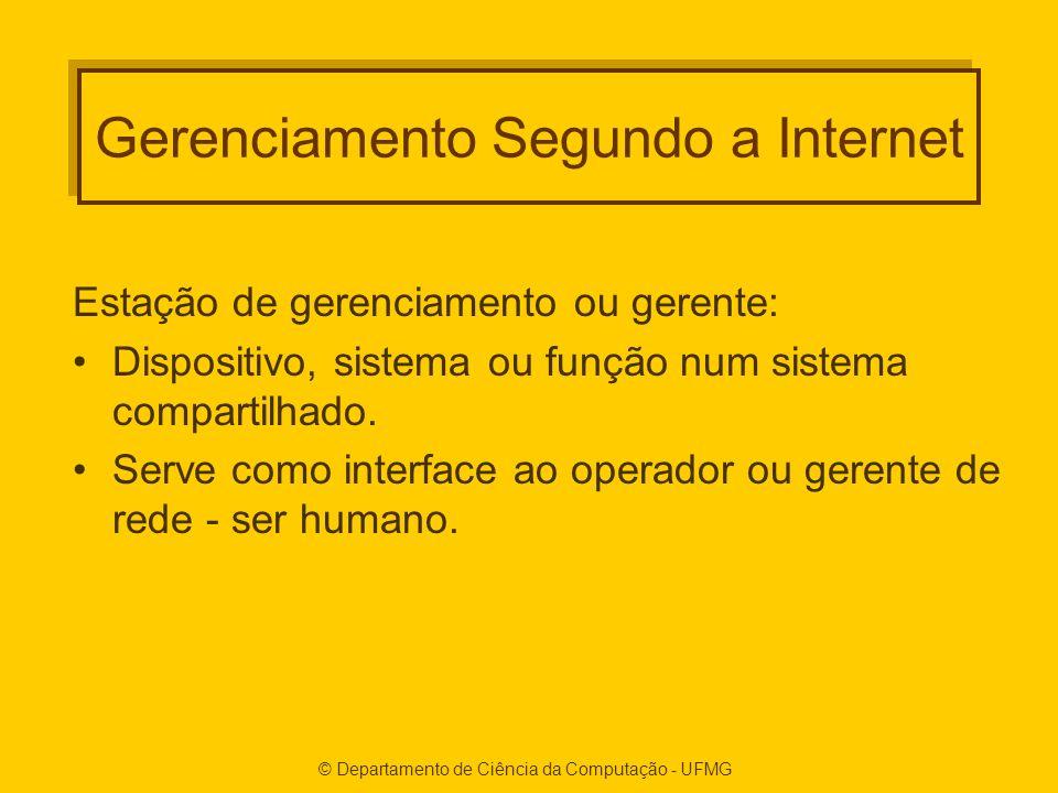 © Departamento de Ciência da Computação - UFMG Gerenciamento Segundo a Internet Estação de gerenciamento ou gerente: Dispositivo, sistema ou função num sistema compartilhado.