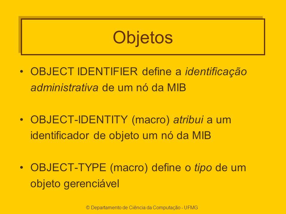 Objetos OBJECT IDENTIFIER define a identificação administrativa de um nó da MIB OBJECT-IDENTITY (macro) atribui a um identificador de objeto um nó da MIB OBJECT-TYPE (macro) define o tipo de um objeto gerenciável