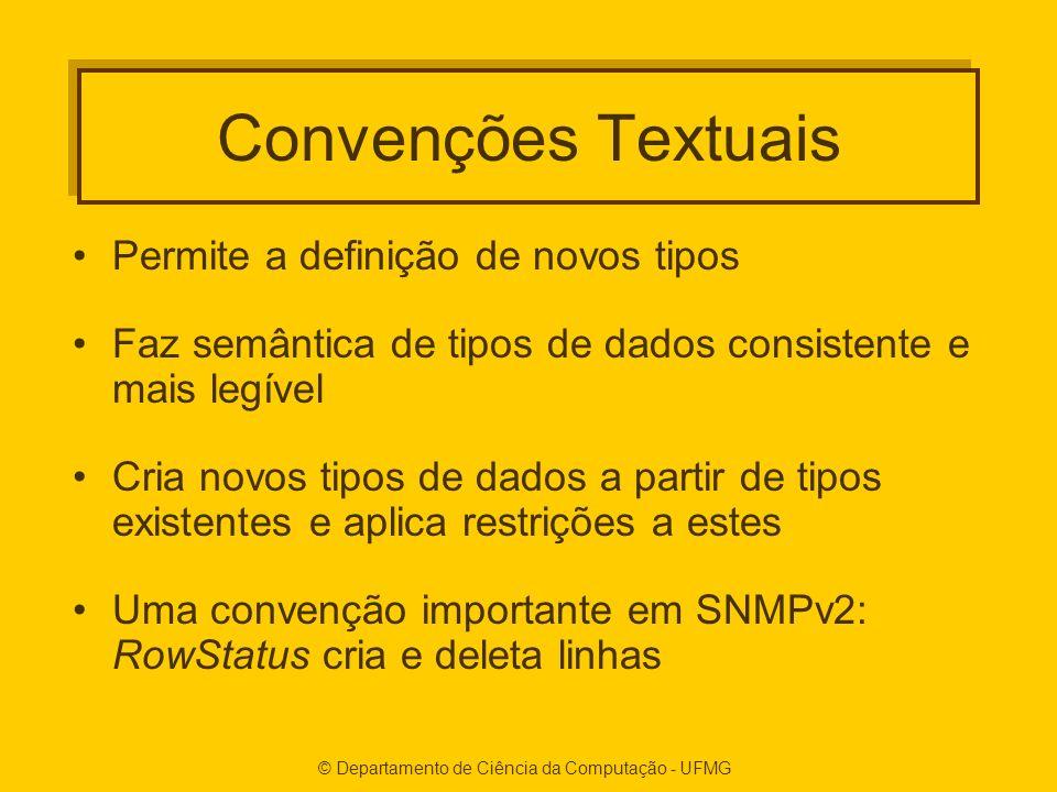 Convenções Textuais Permite a definição de novos tipos Faz semântica de tipos de dados consistente e mais legível Cria novos tipos de dados a partir d