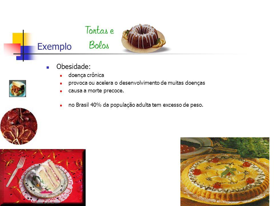 Exemplo Obesidade: doença crônica provoca ou acelera o desenvolvimento de muitas doenças causa a morte precoce. no Brasil 40% da população adulta tem