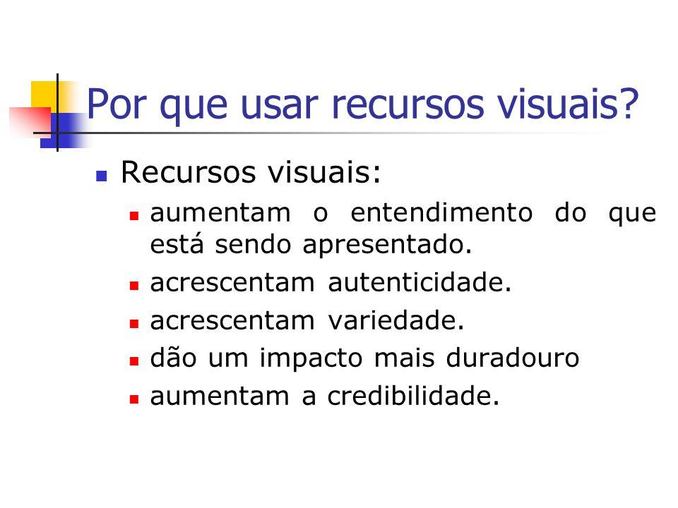 Exemplos de recursos visuais Diagramas Mapas Gráficos Fotografias Figuras Quadro negro Cartazes Objetos Transparências ou slides Folhetos Filmes, Fitas de vídeo e áudio, CD-rom Recursos eletrônicos
