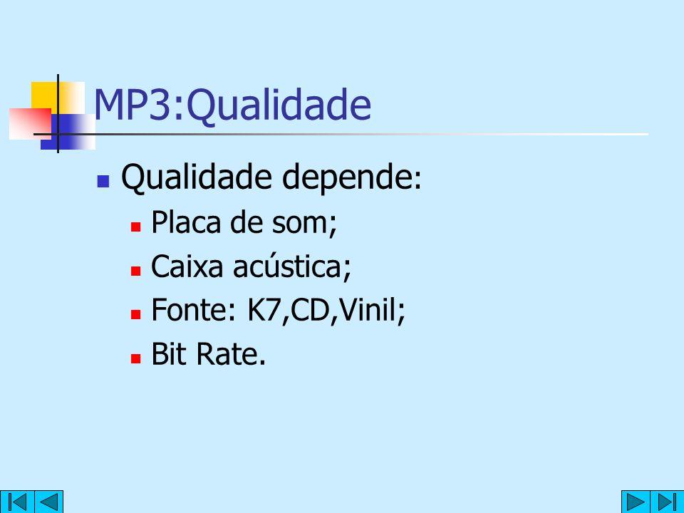 MP3:Qualidade Qualidade depende : Placa de som; Caixa acústica; Fonte: K7,CD,Vinil; Bit Rate.