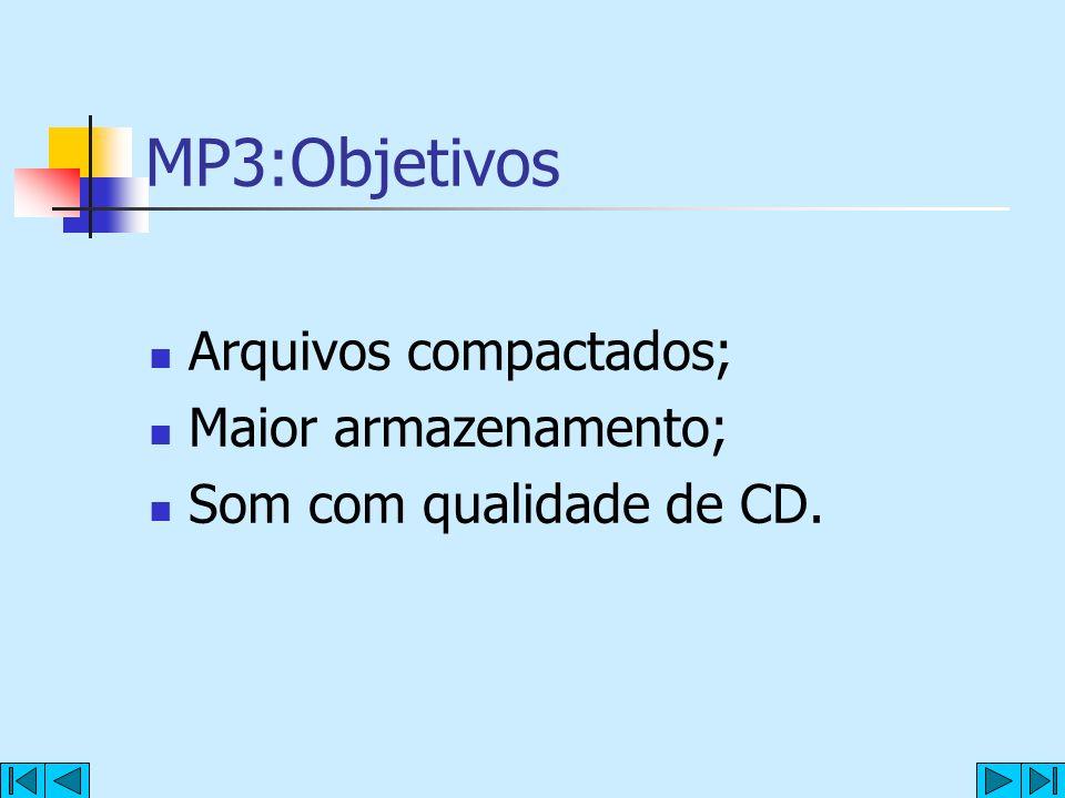MP3:Objetivos Arquivos compactados; Maior armazenamento; Som com qualidade de CD.