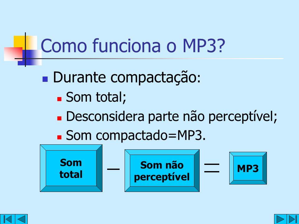 Como funciona o MP3? Durante compactação : Som total; Desconsidera parte não perceptível; Som compactado=MP3. Som total Som não perceptível MP3