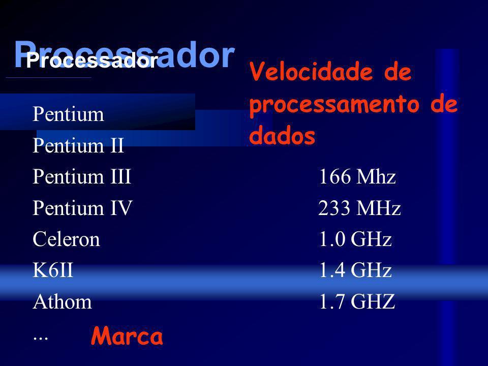 Processador Pentium Pentium II Pentium III 166 Mhz Pentium IV233 MHz Celeron1.0 GHz K6II 1.4 GHz Athom 1.7 GHZ...