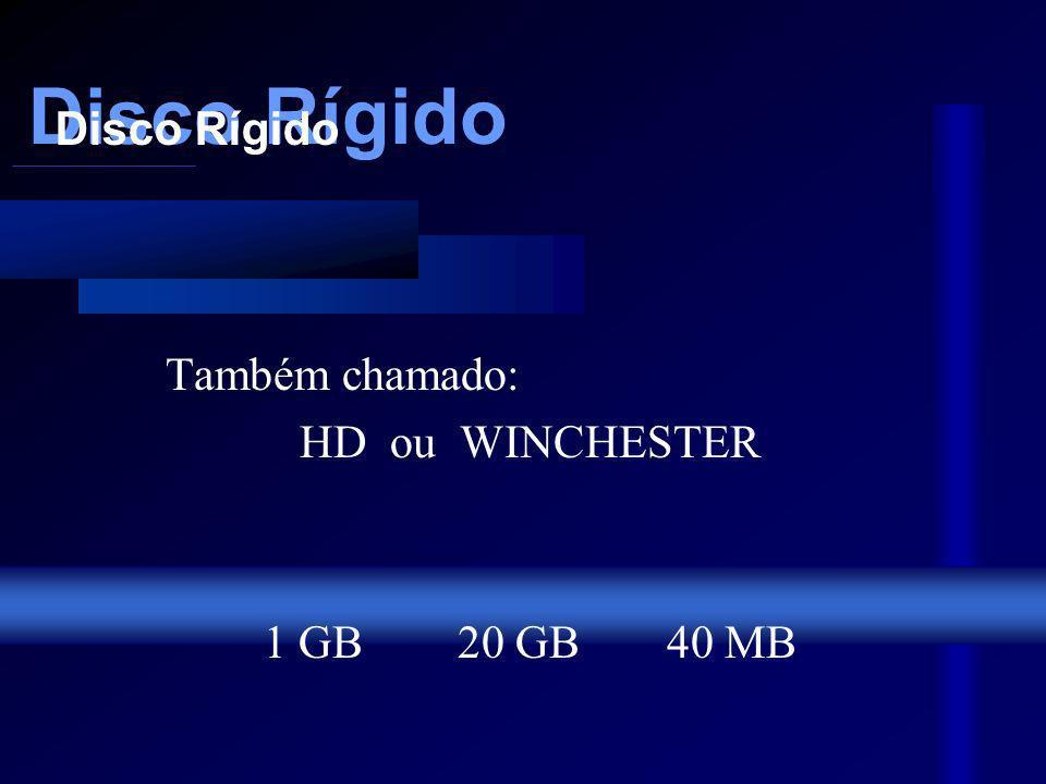 Disco Rígido Também chamado: HD ou WINCHESTER 1 GB20 GB40 MB Disco Rígido Disco Rígido