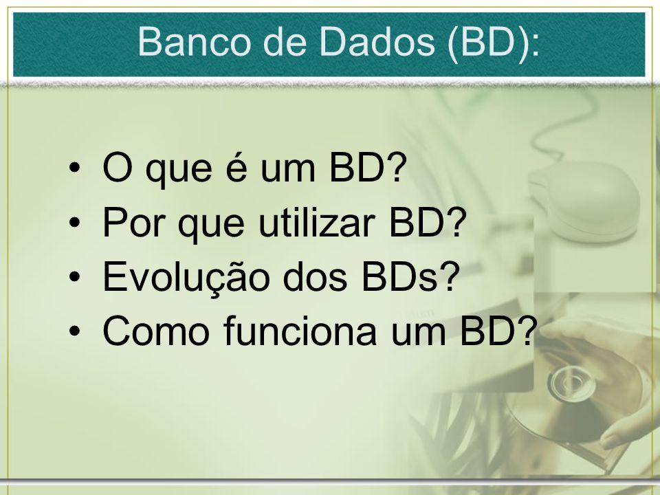 Banco de Dados (BD): O que é um BD? Por que utilizar BD? Evolução dos BDs? Como funciona um BD?