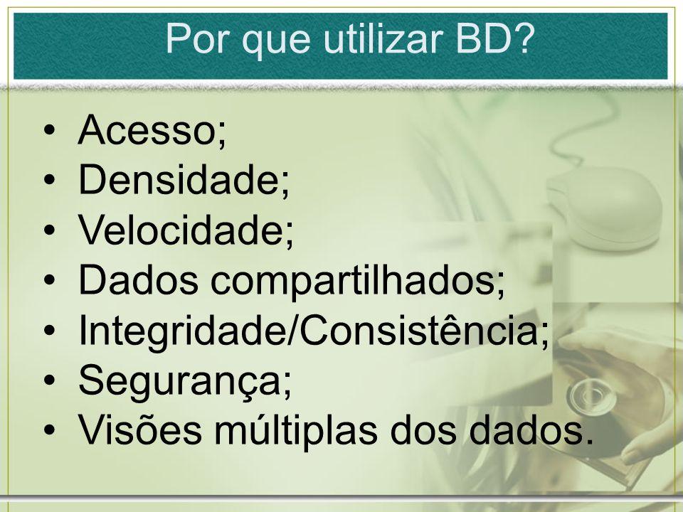 Por que utilizar BD? Acesso; Densidade; Velocidade; Dados compartilhados; Integridade/Consistência; Segurança; Visões múltiplas dos dados.