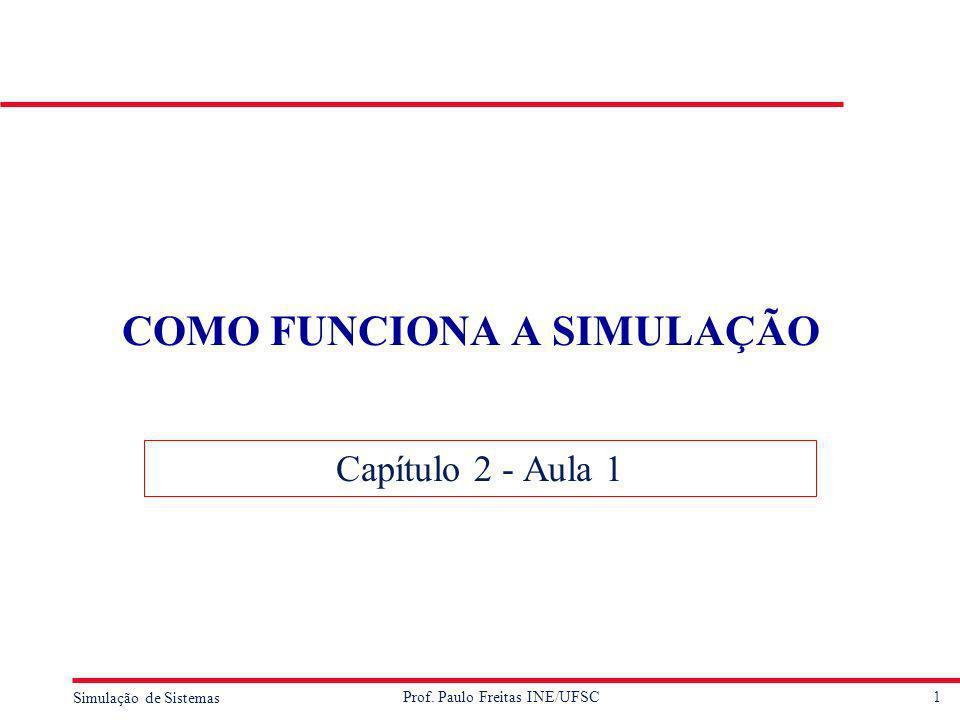 1 Simulação de Sistemas Prof. Paulo Freitas INE/UFSC COMO FUNCIONA A SIMULAÇÃO Capítulo 2 - Aula 1