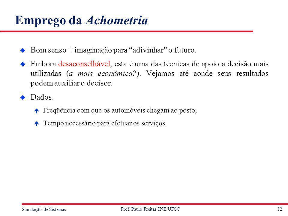 12 Simulação de Sistemas Prof. Paulo Freitas INE/UFSC Emprego da Achometria u Bom senso + imaginação para adivinhar o futuro. u Embora desaconselhável