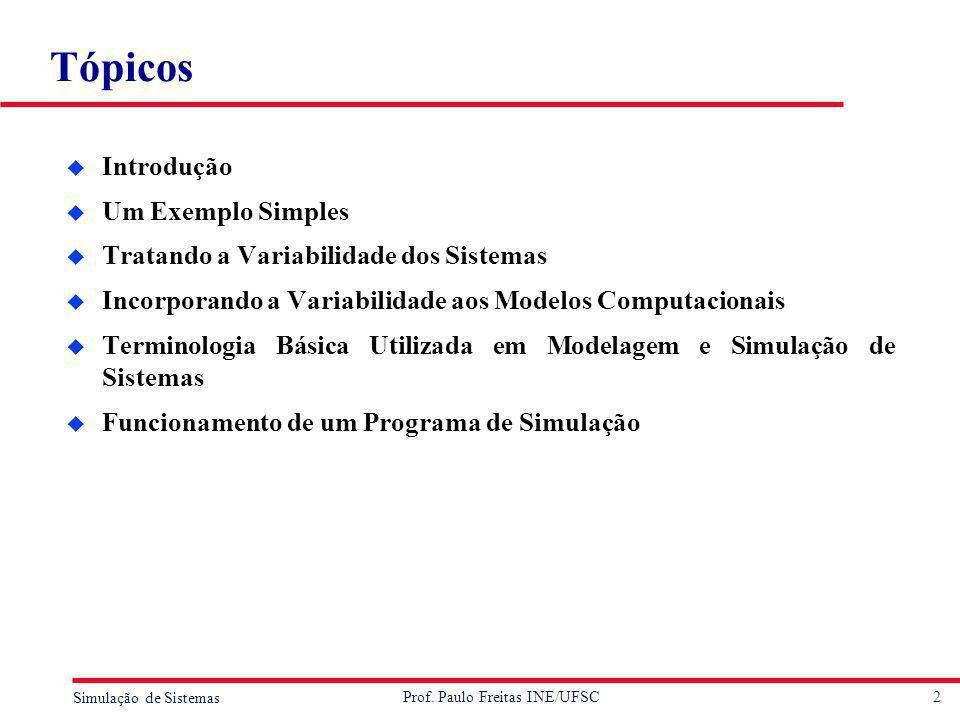2 Simulação de Sistemas Prof. Paulo Freitas INE/UFSC Tópicos u Introdução u Um Exemplo Simples u Tratando a Variabilidade dos Sistemas u Incorporando