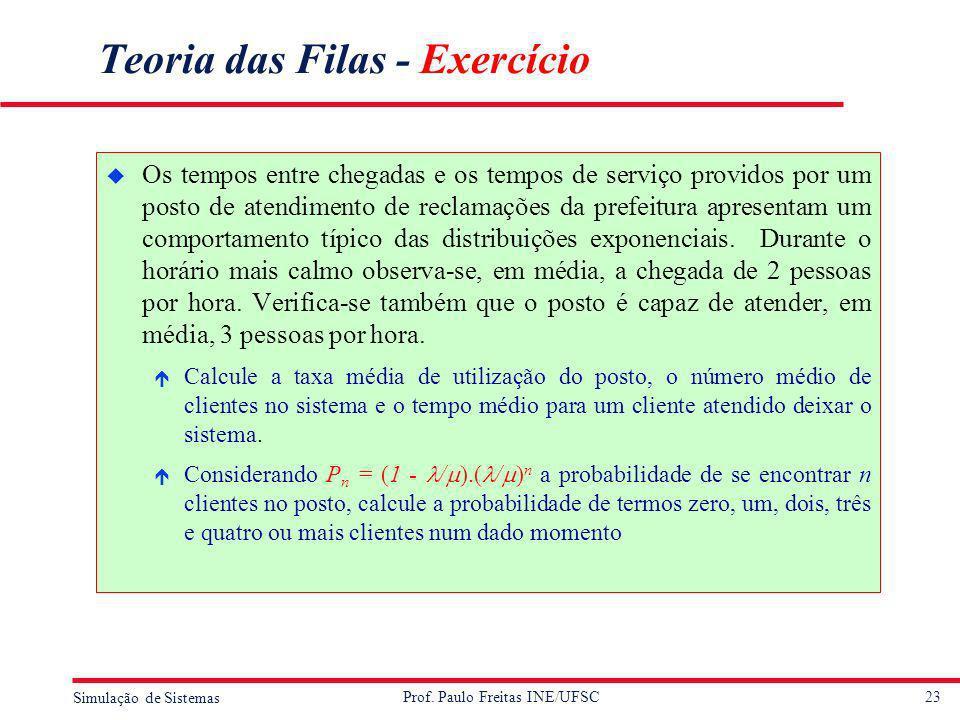 23 Simulação de Sistemas Prof. Paulo Freitas INE/UFSC Teoria das Filas - Exercício u Os tempos entre chegadas e os tempos de serviço providos por um p