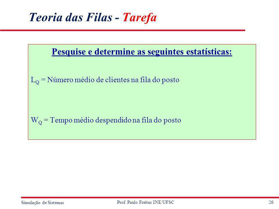 26 Simulação de Sistemas Prof. Paulo Freitas INE/UFSC Teoria das Filas - Tarefa Pesquise e determine as seguintes estatísticas: L Q = Número médio de
