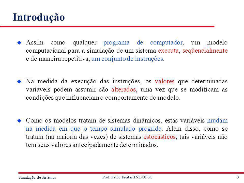 3 Simulação de Sistemas Prof. Paulo Freitas INE/UFSC Introdução u Assim como qualquer programa de computador, um modelo computacional para a simulação
