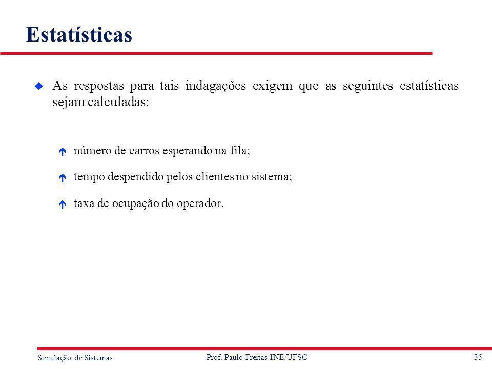 35 Simulação de Sistemas Prof. Paulo Freitas INE/UFSC Estatísticas u As respostas para tais indagações exigem que as seguintes estatísticas sejam calc