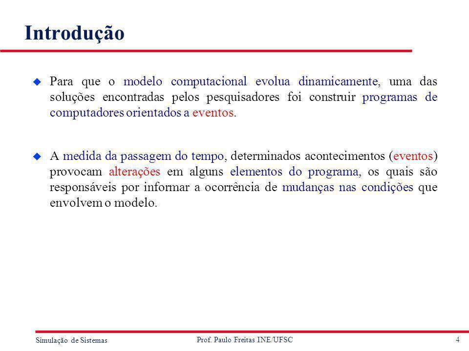 4 Simulação de Sistemas Prof. Paulo Freitas INE/UFSC Introdução u Para que o modelo computacional evolua dinamicamente, uma das soluções encontradas p