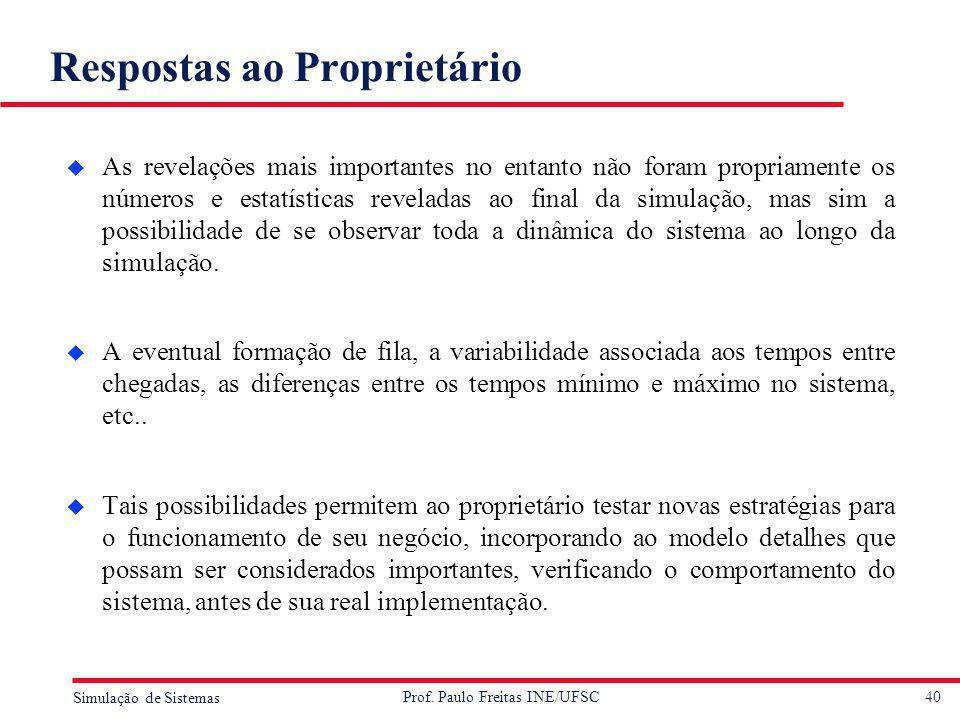 40 Simulação de Sistemas Prof. Paulo Freitas INE/UFSC Respostas ao Proprietário u As revelações mais importantes no entanto não foram propriamente os