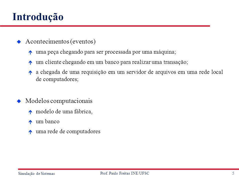 5 Simulação de Sistemas Prof. Paulo Freitas INE/UFSC Introdução u Acontecimentos (eventos) é uma peça chegando para ser processada por uma máquina; é