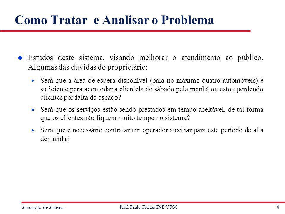8 Simulação de Sistemas Prof. Paulo Freitas INE/UFSC Como Tratar e Analisar o Problema u Estudos deste sistema, visando melhorar o atendimento ao públ