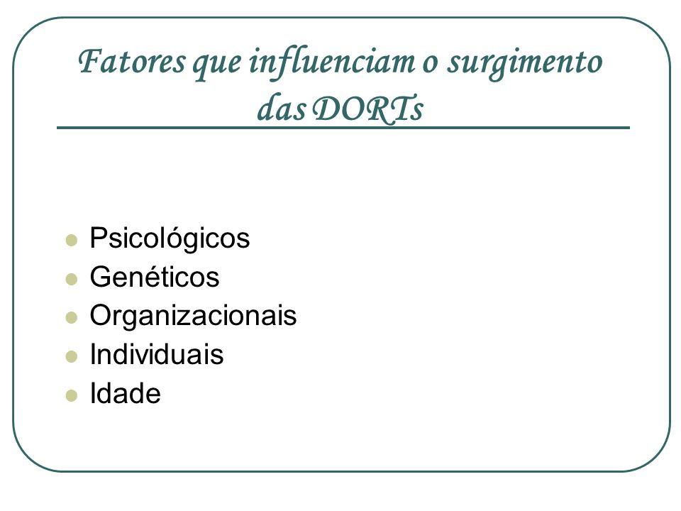 Fatores que influenciam o surgimento das DORTs Psicológicos Genéticos Organizacionais Individuais Idade