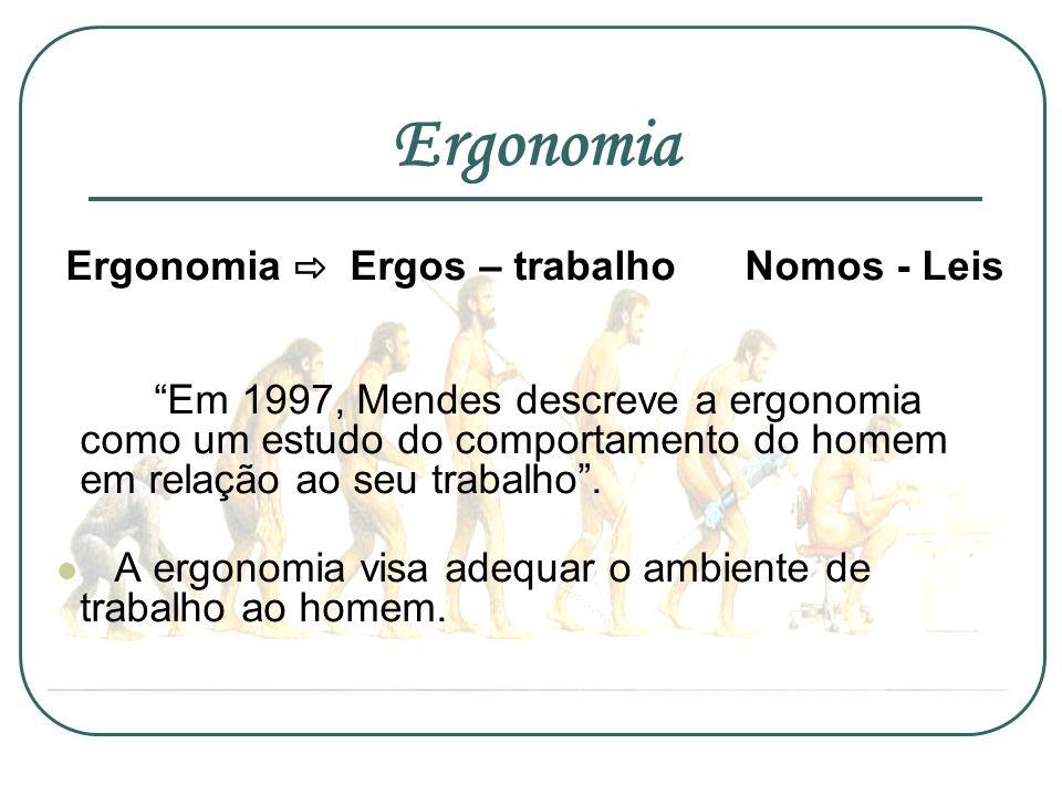 Ergonomia Ergonomia Ergos – trabalho Nomos - Leis Em 1997, Mendes descreve a ergonomia como um estudo do comportamento do homem em relação ao seu trab