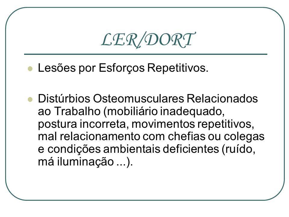 LER/DORT Lesões por Esforços Repetitivos. Distúrbios Osteomusculares Relacionados ao Trabalho (mobiliário inadequado, postura incorreta, movimentos re